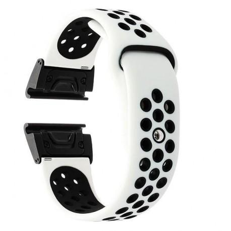 Curea ceas Smartwatch Garmin Fenix 5, 22 mm iUni Silicon Sport Alb-Negru