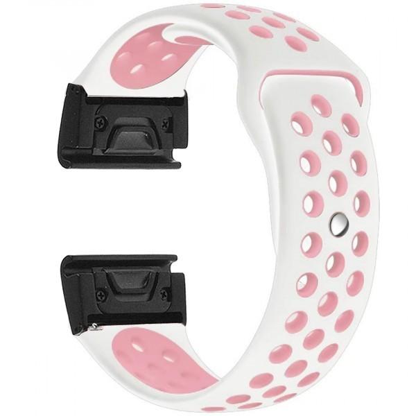 Curea ceas Smartwatch Garmin Fenix 5, 22 mm iUni Silicon Sport Alb-Roz pal