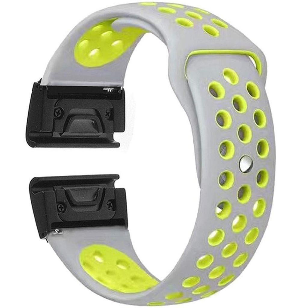 Curea ceas Smartwatch Garmin Fenix 5, 22 mm iUni Silicon Sport Gri-Galben