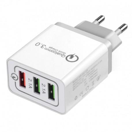 Incarcator ultra rapid cu 3 porturi usb QC 3.0 3A 18W pentru smartphone universal