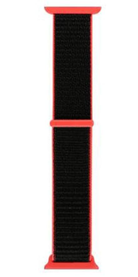 Curea pentru Apple Watch 38 mm iUni Woven Strap, Nylon Sport, Black-Red