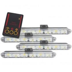 Set 4x6 Lumini LED Tip Stroboscop De Avertizare Flash Rosu si Albastru Alimentare 12V
