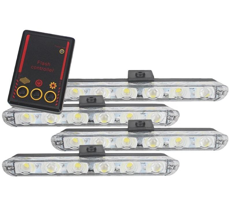 Set 4x6 Lumini LED Tip Stroboscop De Avertizare Flash Rosu si Albastru Alimentare 12V imagine techstar.ro 2021