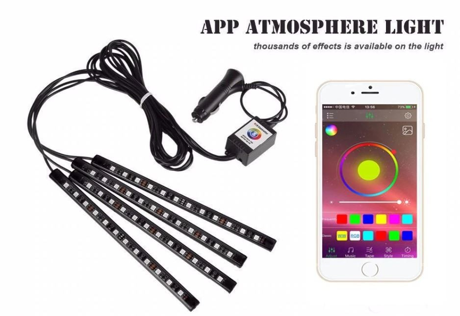 Benzi Led Auto MultiColore RGB 12 Leduri x 4 Bucati Control Aplicatie Android imagine techstar.ro 2021