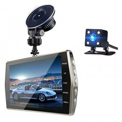 "Camera Video Auto DVR Dubla FullHD Techstar® T667 Unghi 170° Display 4"", Senzori Miscare si Night Vision"