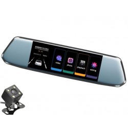 "Camera Video Auto Dubla tip Oglinda L809 DVR Techstar® 7"" 5MP 170 Grade FullHD 1080P, TouchScreen"