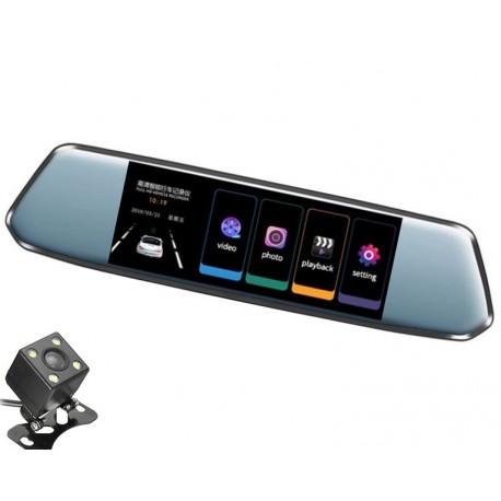 "Camera Video Auto Dubla tip Oglinda L809 DVR Techstar® 7"" 5MP 170 Grade FullHD 1080P, TouchScreen"
