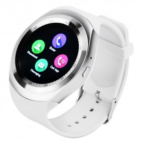 "Smartwatch BT, Techstar® Y1 Display 1.54"", Compatibil Android si IOS, Alb"