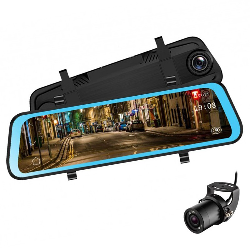 Camera Video Auto Premium Tip Oglinda Techstar® L606 Dubla Fullhd, Touchscreen 10'', 12mpx, Unghi 170°, Mod Parking, G Sensor