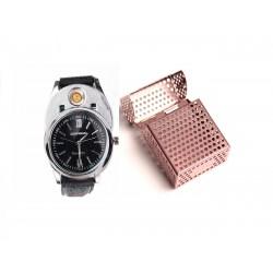 Ceas cu Bricheta ZHUOHENG, Incarcare USB+Tabachera Cadou