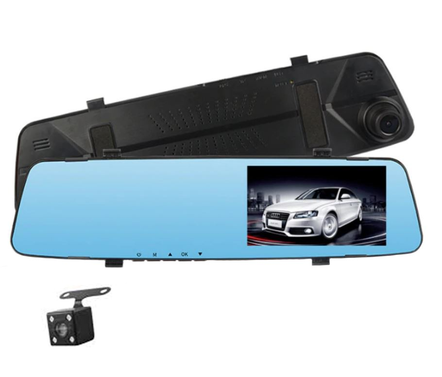 Camera Video Auto Tip Oglinda Techstar Dvr H450 Dubla Fullhd Touchscreen, Night Vision, Senzor Gravitational, Unghi 170°