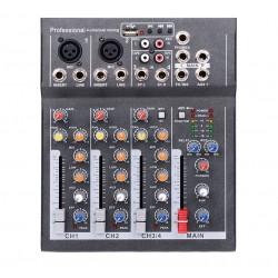 Mixer Audio Mini Portabil cu USB, 4 Canale DJ, Mix Sunet Console, Mp3, 48V, pentru Karaoke si Petreceri