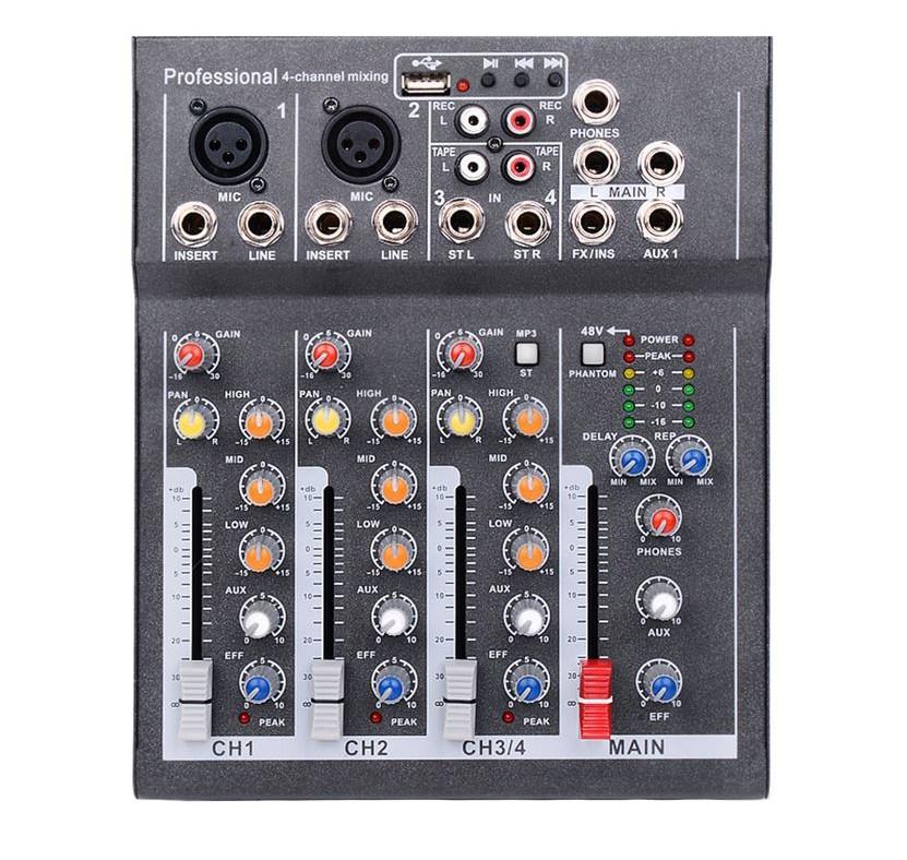 Mixer Audio Mini Portabil cu USB, 4 Canale DJ, Mix Sunet Consola, Mp3, 48V, pentru Karaoke si Petreceri imagine techstar.ro 2021