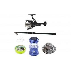 Pachet de pescuit sportiv cu lanseta 3,6 m, mulineta, felinar, palarie si accesorii