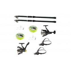 Pachet 2 lansete de pescuit, doua mulinete, lanterne frontale led si accesorii