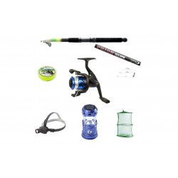 Set pescuit sportiv cu lanseta 2.4 m, mulineta BH200 cu 5 rulmenti , felinar solar,