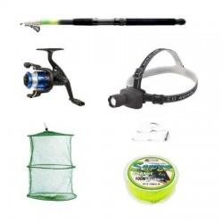 Pachet complet pescuit sportiv cu lanseta 3.6m, mulineta, lanterna frontala si accesorii