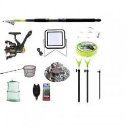 Set lanseta 3.6m pescuit sportiv, mulineta BF200A, fir, montura, proiector solar,