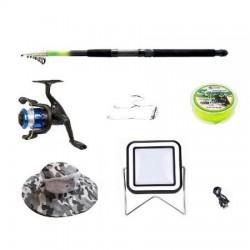 Set lanseta 2.4m pescuit sportiv, mulineta BH200, plastic solid, fir, montura, proiector solar si palarie