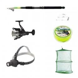 Pachet complet pescuit sportiv cu lanseta 3.6m, mulineta QFC1000 cu 6 rulmenti, lanterna frontala si accesorii