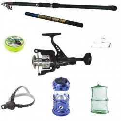 Set pescuit sportiv cu lanseta 3,6 m mulineta cu 6 rulmenti , felinar solar, lanterna frontala si accesorii
