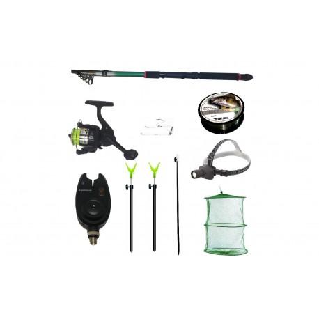 Pachet de pescuit complet cu lanseta 3,6m, mulineta, lanterna led, senzor, juvelnic si accesorii