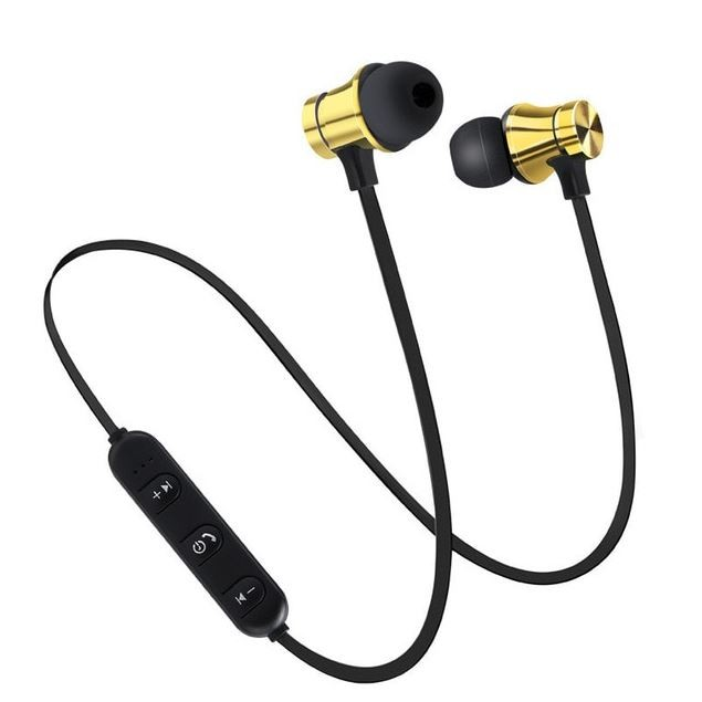 Casti Wireless Bluetooth Sport BT4, Waterproof, Tip In-Ear Headset, Microfon Incorporat, Auriu