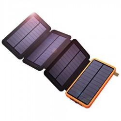 Power Bank 10000 mAh cu Incarcare Solara cu 4 Panouri 2 USB Lanterna LED cu Mod SOS