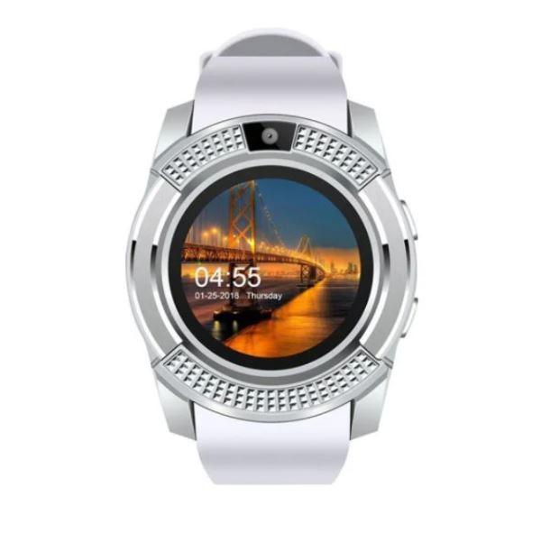 Ceas Smartwatch Techstar® V8, Handsfree, Bluetooth 3.0, SIM, Compatibil Android & iOS, Camera 1.3MP, Alb poza 2021