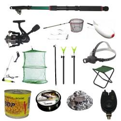 Pachet complet echipat pentru pescuit cu lanseta 2.4m, mulineta si accesorii