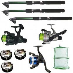 Set pescuit cu 3 lansete Cool Angel de 3,6m, 3 mulinete, 3 gute si juvelnic