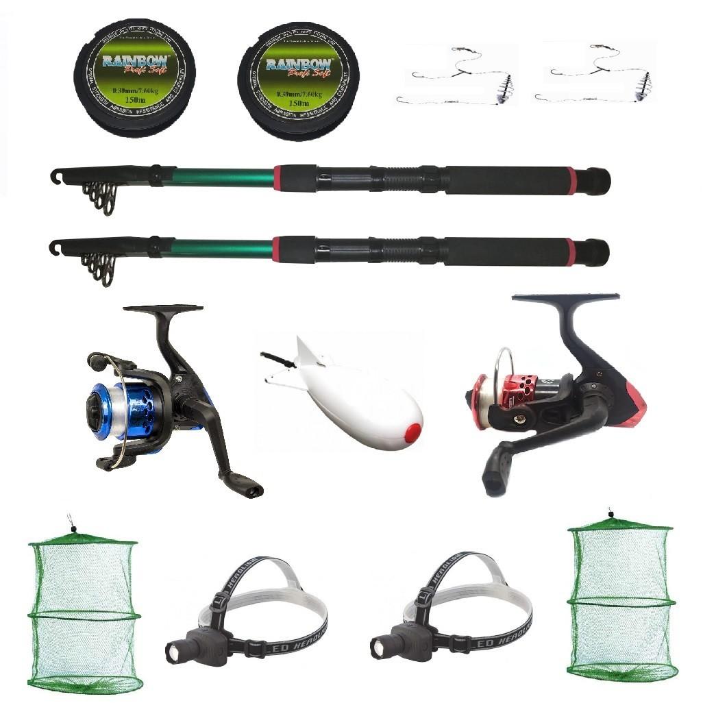 Kit Complet De Pescuit Sportiv Pentru Doua Persoane Cu Lansete 2,4m, Doua Mulinete Si Accesorii