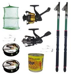 Pachet de pescuit cu 2 lansete eastshark 3,6 m, mulinete si accesorii