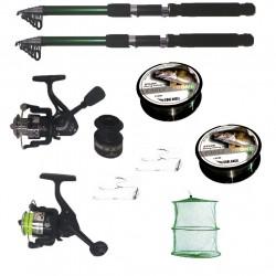 Pachet de pescuit cu 2 lansete 3,6m Cool Angel, doua mulinete si accesorii