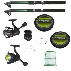 Set complet de pescuit cu 2 lansete 2.4m Cool Angel, doua mulinete si accesorii