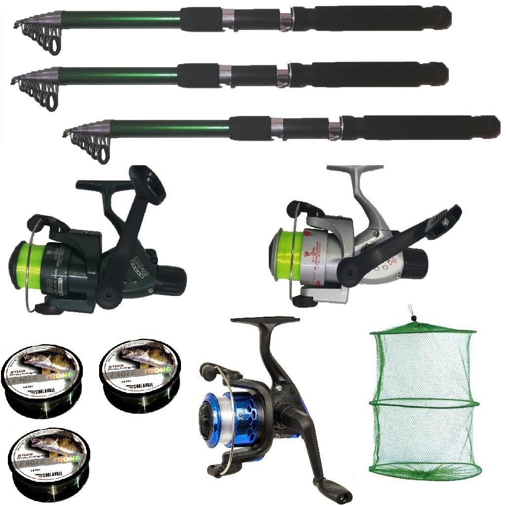Set pescuit sportiv cu 3 lansete de 2.4m , 3 mulinete, 3 fire Cool Angel si juvelnic