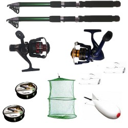 Pachet de pescuit sportiv cu 2 lansete, 2 mulinete, 2 gute, monturi si racheta de nadit