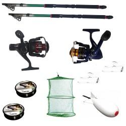 Pachet de pescuit sportiv cu 2 lansete 2,4m, 2 mulinete, 2 gute, monturi si racheta de nadit
