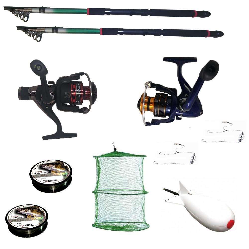 Pachet de pescuit sportiv cu 2 lansete 3,6m, 2 mulinete, 2 gute, monturi si racheta de nadit imagine techstar.ro 2021
