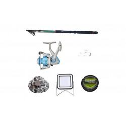 Set lanseta 3.6m pescuit sportiv, mulineta DB5000, fir, montura, proiector solar si palarie