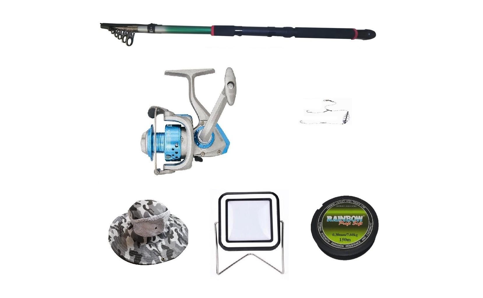 Set lanseta 3.6m pescuit sportiv, mulineta DB5000, fir, montura, proiector solar si palarie imagine techstar.ro 2021