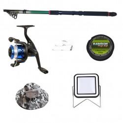 Set lanseta 2.4m pescuit sportiv, mulineta YF200, plastic solid, fir, montura, proiector solar si palarie