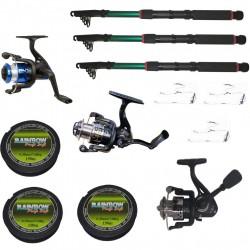 Set 3 mulinete echipate pentru pescuit sportiv cu lansete de 3.6m si fir