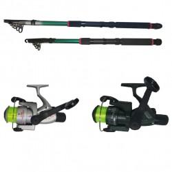 Set pescuit sportiv cu doua lansete 2,4m si 3,6m si doua mulinete CB340 si CB440