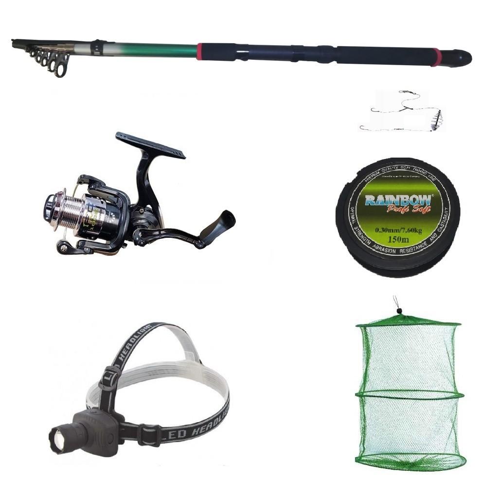 Pachet complet pescuit sportiv cu lanseta 3.6m, mulineta QFC1000 cu 5 rulmenti, lanterna frontala si accesorii