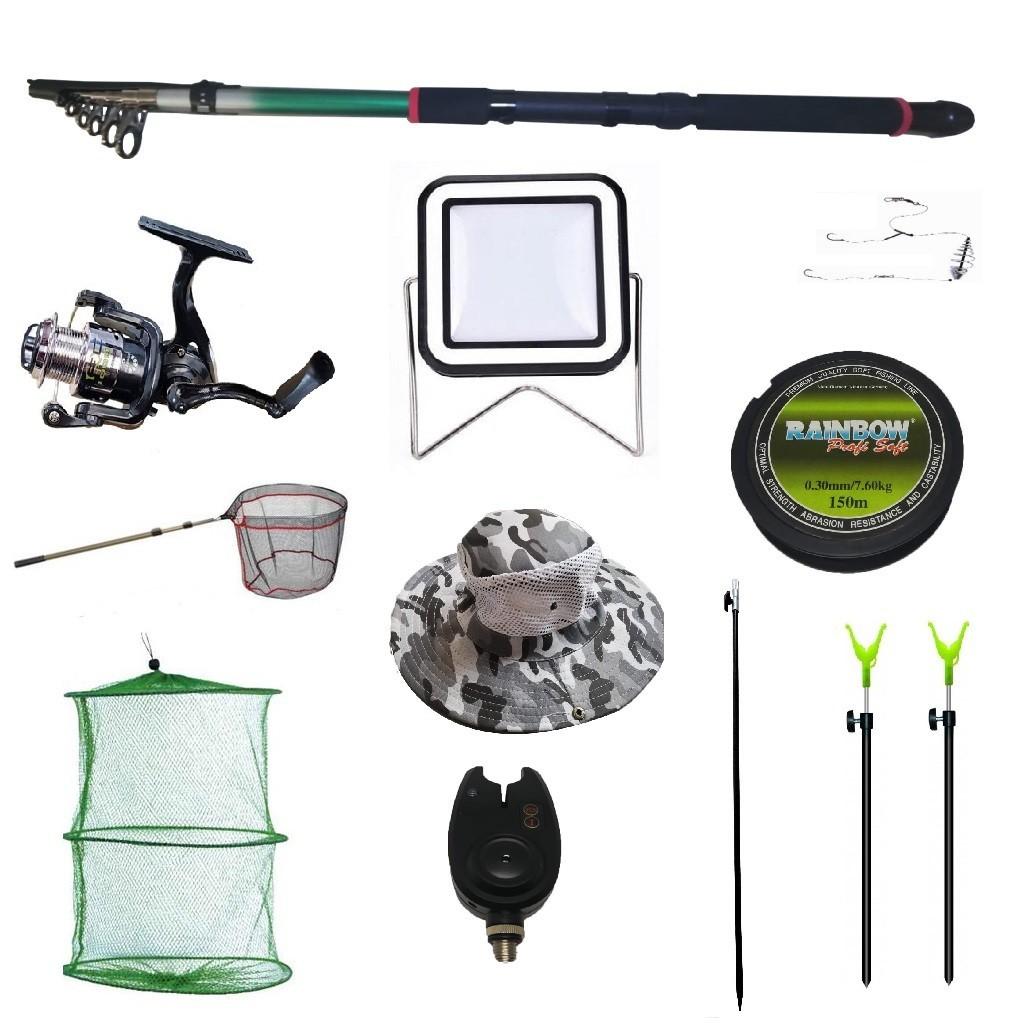 Set lanseta 3.6m pescuit sportiv, mulineta QFC1000, fir, montura, proiector solar, palarie, minciog, juvelnic,