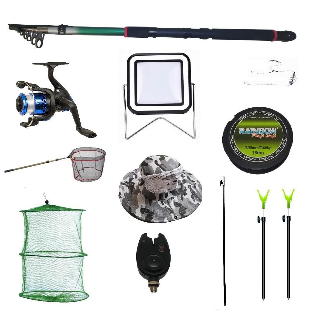 Set lanseta 3.6m pescuit sportiv, mulineta YF200, fir, montura, proiector solar, palarie, minciog, juvelnic