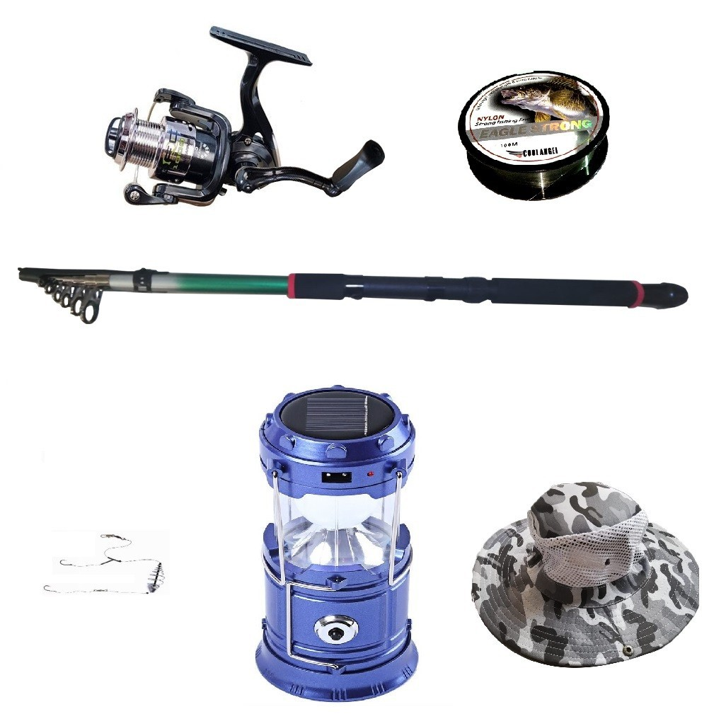 Pachet de pescuit sportiv cu lanseta 3,6 m, mulineta, felinar