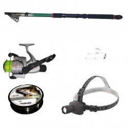 Set pescuit cu lanseta 3,6m, mulineta CB440, lanterna frontala led, montura si fir