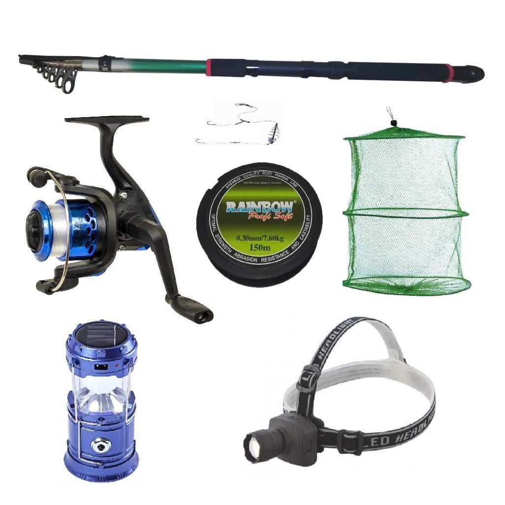 Set pescuit sportiv cu lanseta 2.4 m, mulineta YF200 cu 5 rulmenti, felinar solar, lanterna frontala si acceso